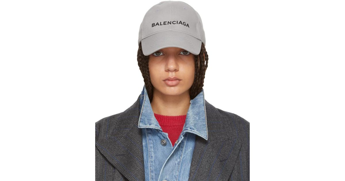 Lyst - Balenciaga Grey Logo Cap in Gray b03a4b5f6e2
