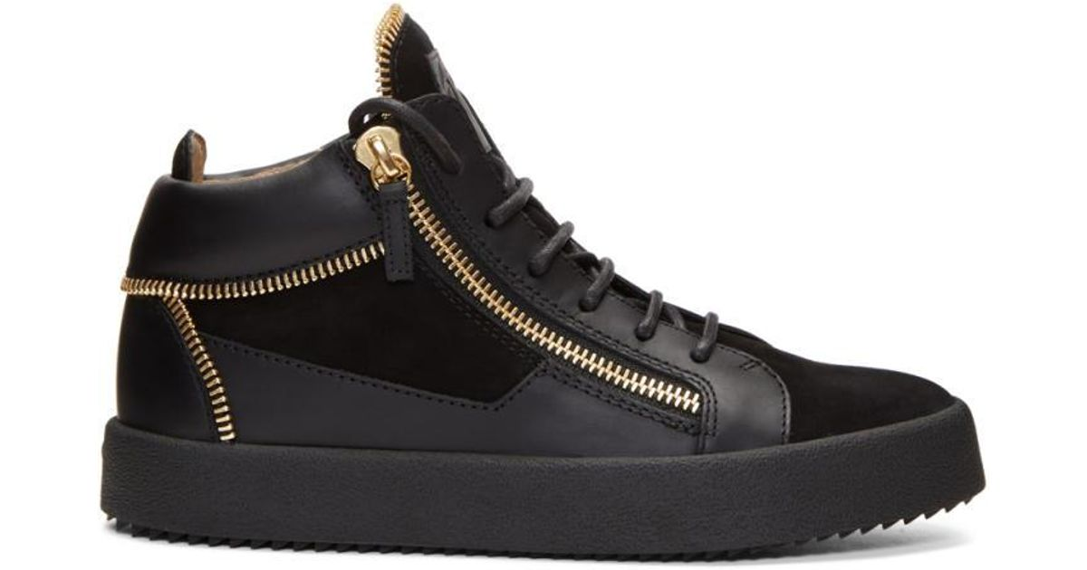Giuseppe Zanotti Black Suede Zip May London Sneakers 0nSq69UXSt