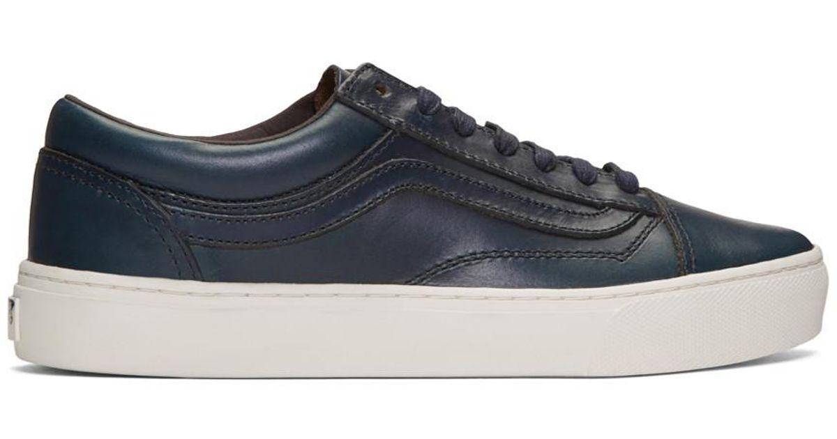 Vans Navy Horween Edition Old Skool Cup LX Sneakers V1Xa0