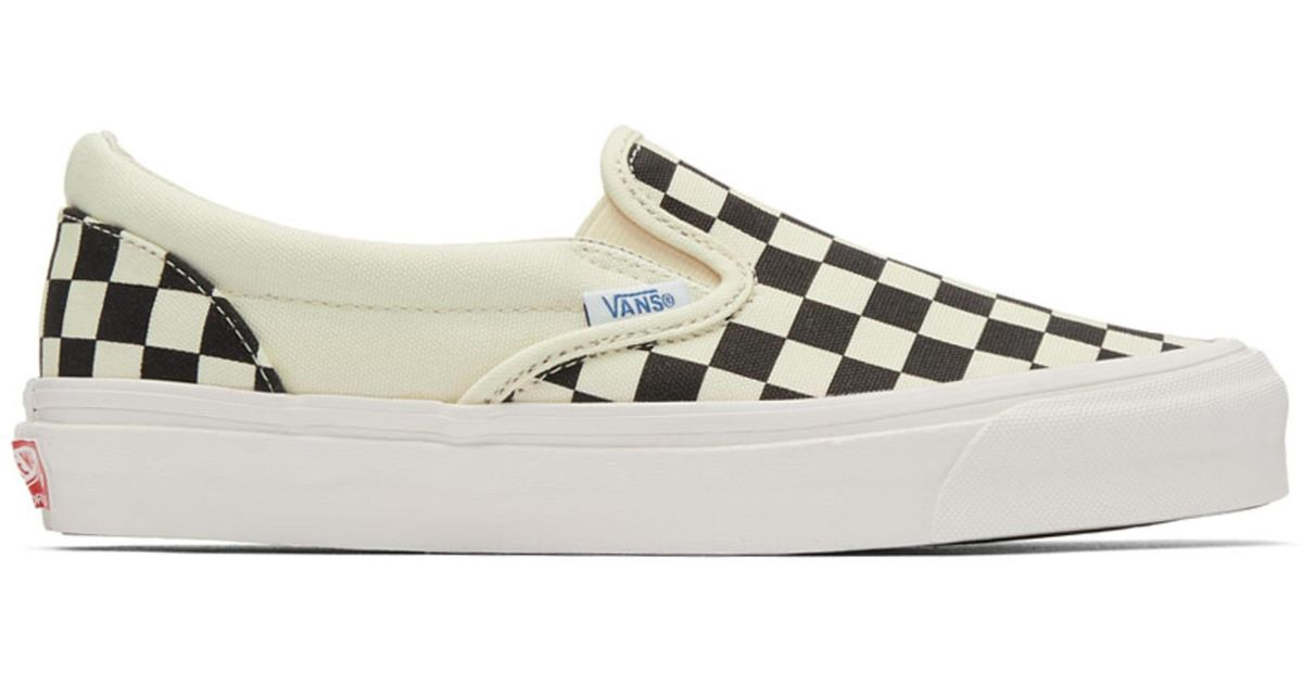 Lyst - Vans Black And Off-white Og Checkerboard Classic Slip-on Sneakers in  Black 2cc897aeb