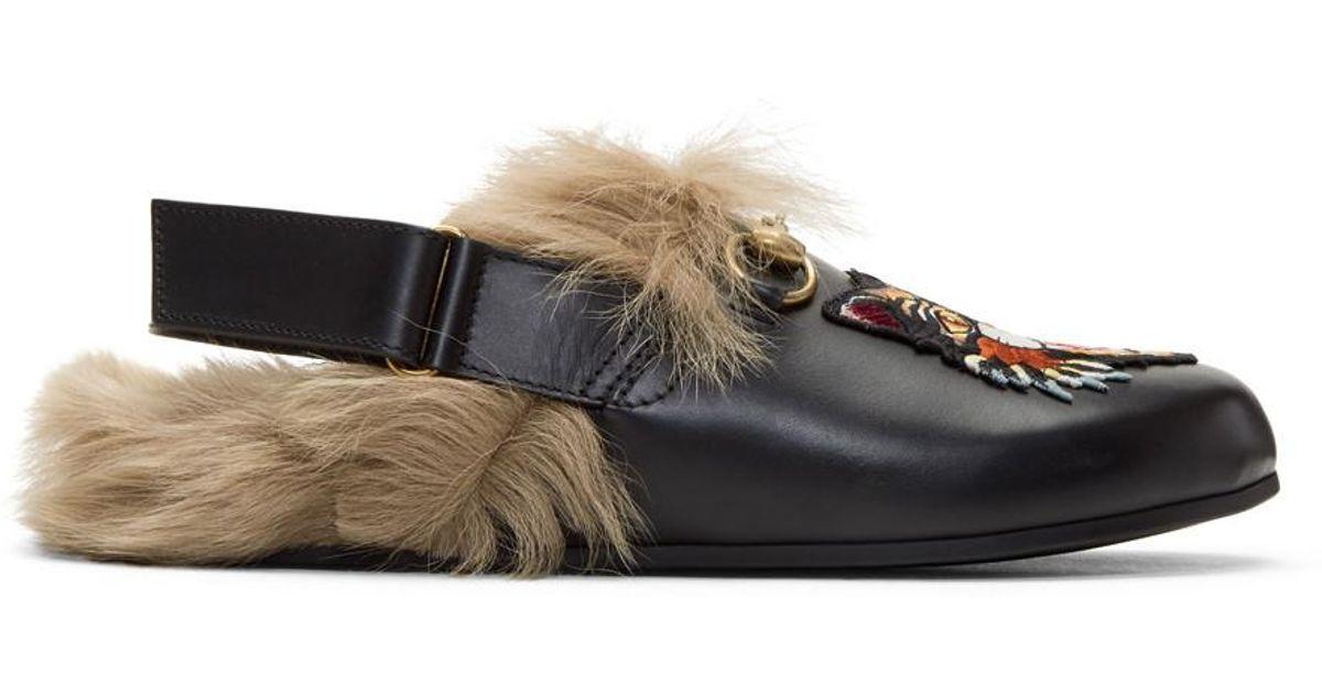 ee40b5b90fdd Lyst - Gucci Black Fur Angry Cat Horsebit River Slippers in Black