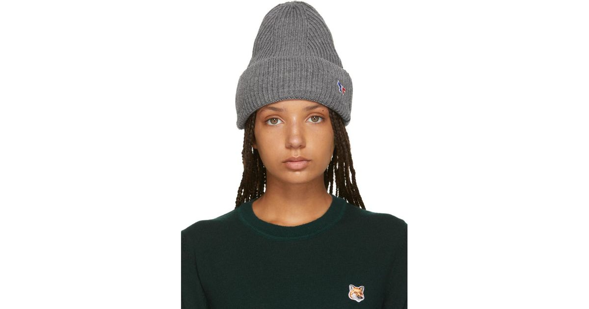 d68e1a49127 Maison Kitsuné Grey Tricolor Fox Ribbed Beanie in Gray - Lyst