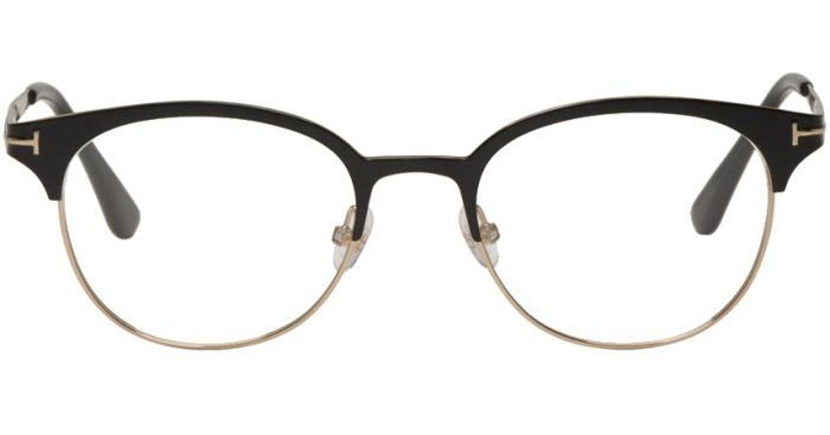 650be9536 Tom Ford Black & Gold Titanium Round Glasses in Black for Men - Lyst