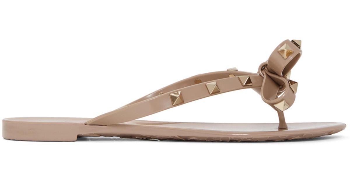 Valentino Taupe Garavani Rockstud Bow Sandals ItidM