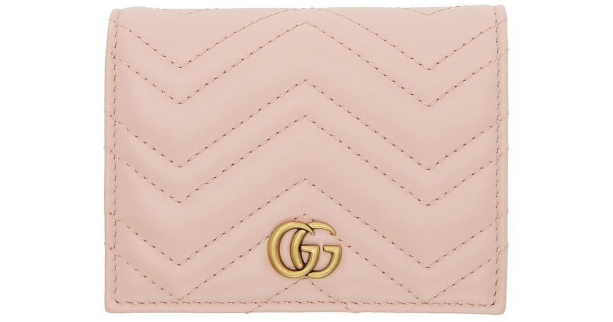 79f79add4a06 Gucci Pink Small GG Marmont Wallet in Pink - Save 7% - Lyst