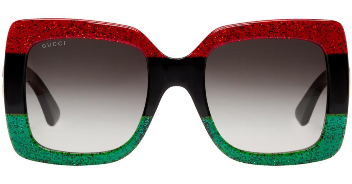 Diva Del Bloque De La Tela Urbana Rojo Y Verde Gafas De Sol Gucci Vphqjv4o
