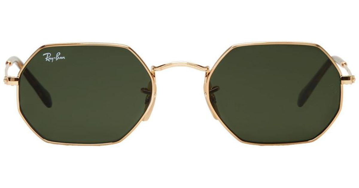 60c162894e Ray-Ban Gold Octagonal Flat Sunglasses in Metallic for Men - Lyst