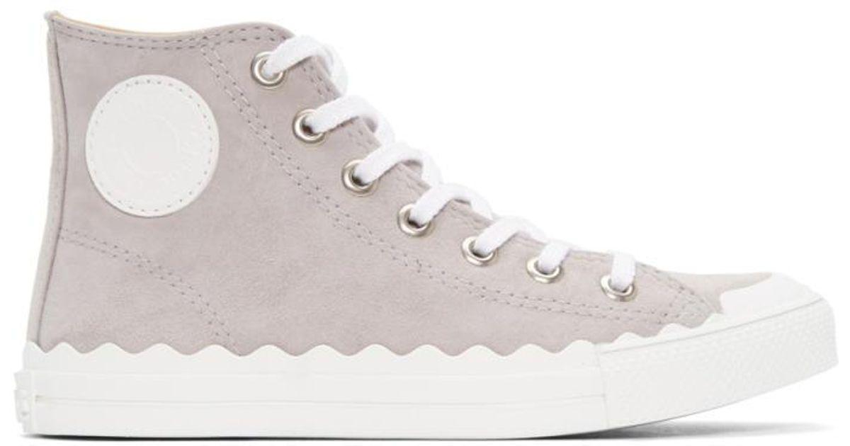 Chloé Grey Kyle High-Top Sneakers 2AzfPl0