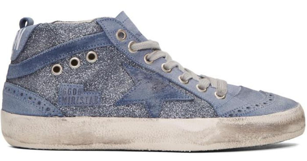 7911eb3c173b Lyst - Golden Goose Deluxe Brand Blue Glitter Mid Star Sneakers in Blue