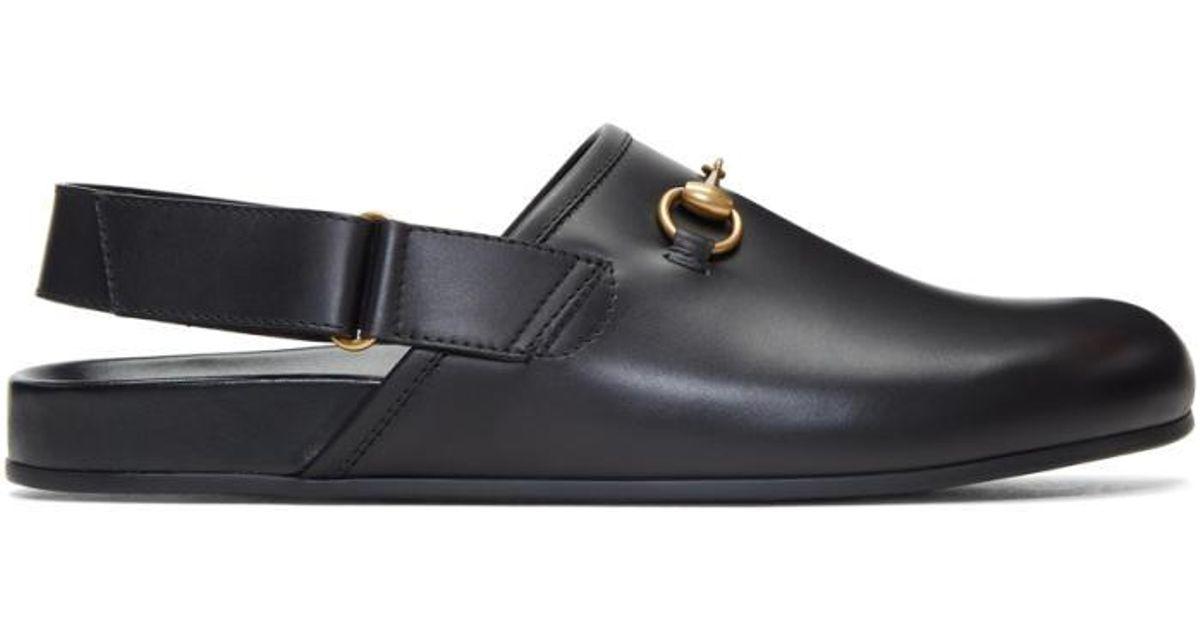 dd7d96119 Gucci Black Horsebit River Slippers in Black for Men - Lyst