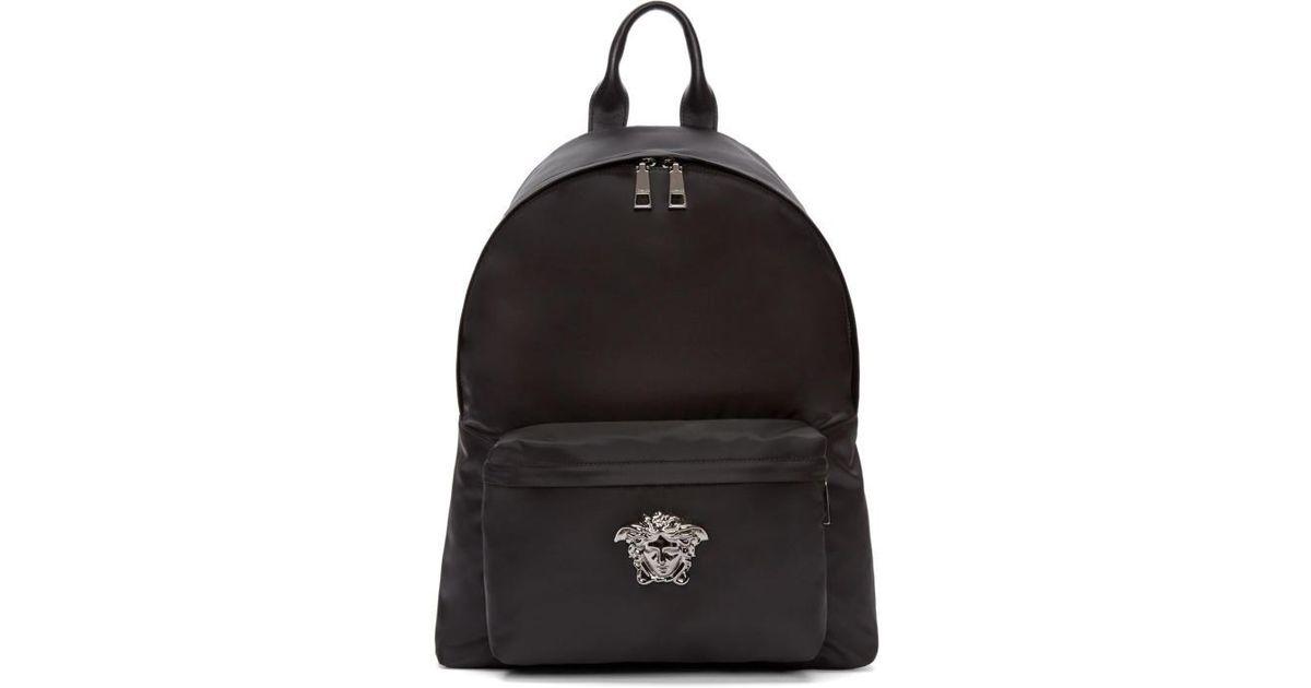 729359045c Lyst - Versace Black   Gunmetal Nylon Medusa Backpack in Black for Men