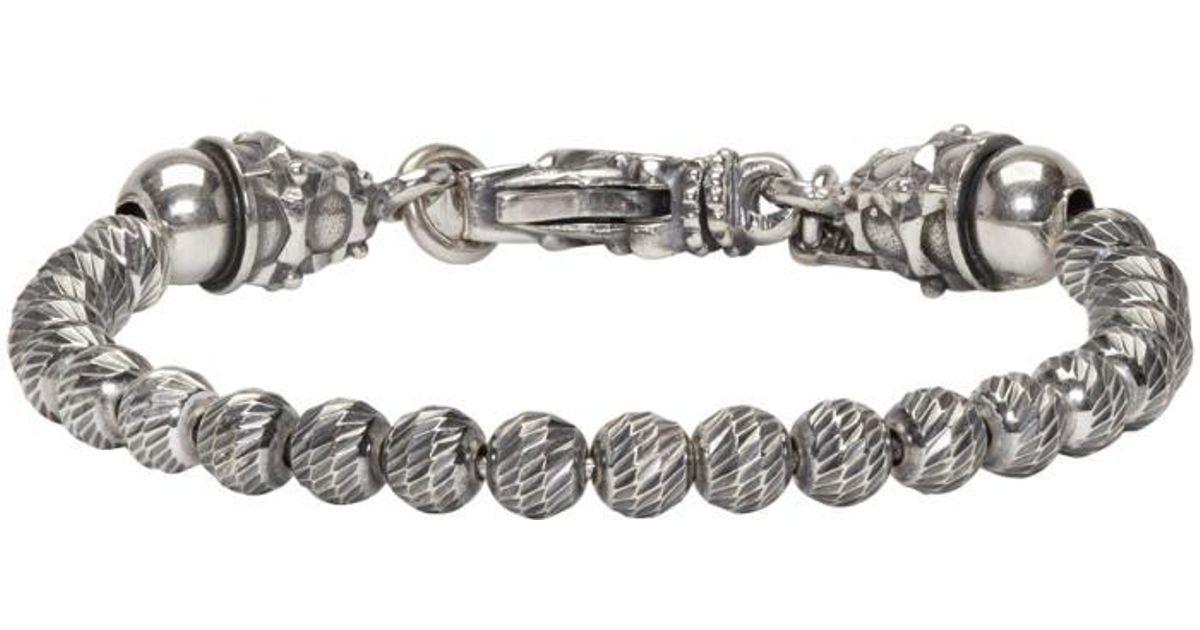 Emanuele Bicocchi Mens Sterling Silver Beaded Double-Strand Bracelet 00VucA
