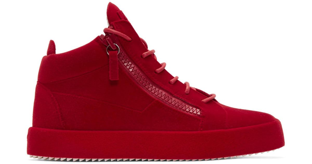 4811925bcf1 Lyst - Giuseppe Zanotti Red Flocked May London High-top Sneakers in Red for  Men