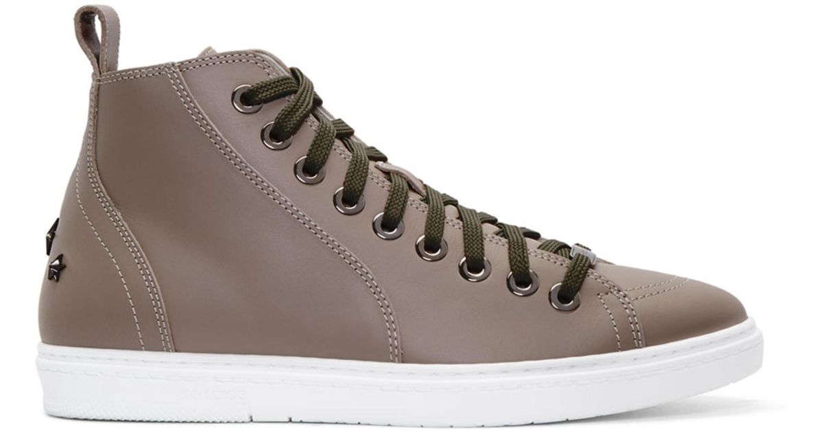 Jimmy choo Grey Velvet Colt High-Top Sneakers 1lyAUU