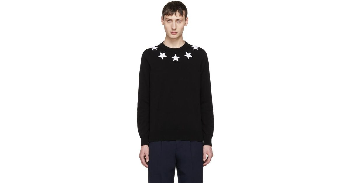 7fd170709de0 Lyst - Givenchy Black And White Stars Sweater in Black for Men