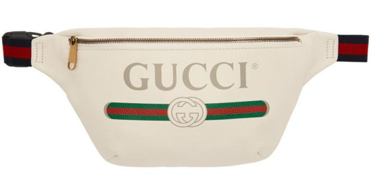 6cc81aac83f7 Gucci Off-white Leather Logo Fanny Pack in White - Lyst