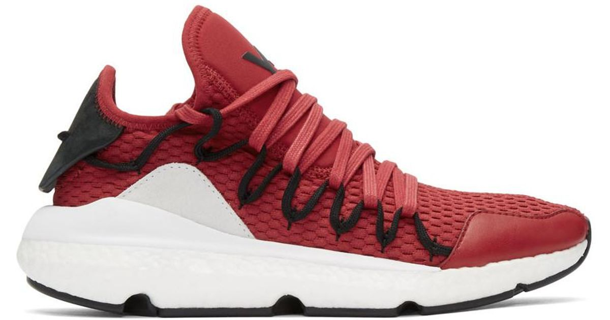 low priced 48a2a 3b97f Lyst - Y-3 Red And Black Kusari Boost Sneakers in Red for Men