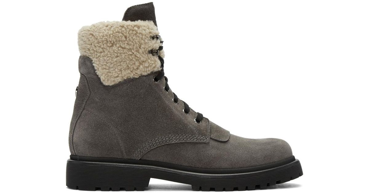 MonclerGrey Suede Patty Military Boots