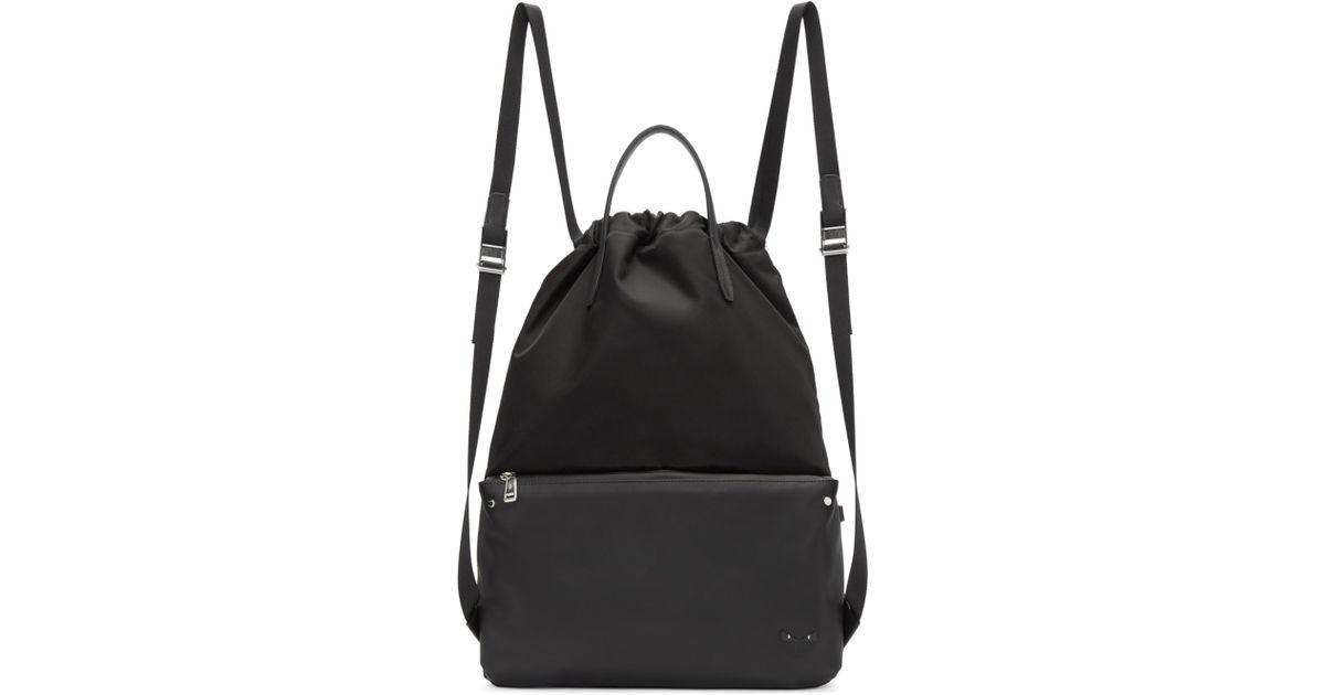 705415dcc3c ... c913e 82001 Fendi Black Nylon Mini Bag Bugs Backpack in Black - Lyst   promo code c6982 a7600 FENDI Nylon Vitello Elite Bag Bugs Backpack Zaino  229570 ...