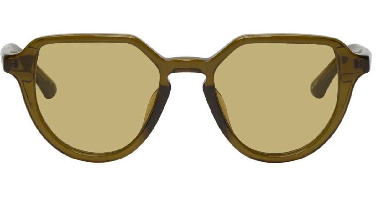20d1c01bb6 Lyst - Dries Van Noten Green Linda Farrow Edition Almond Sunglasses in Green