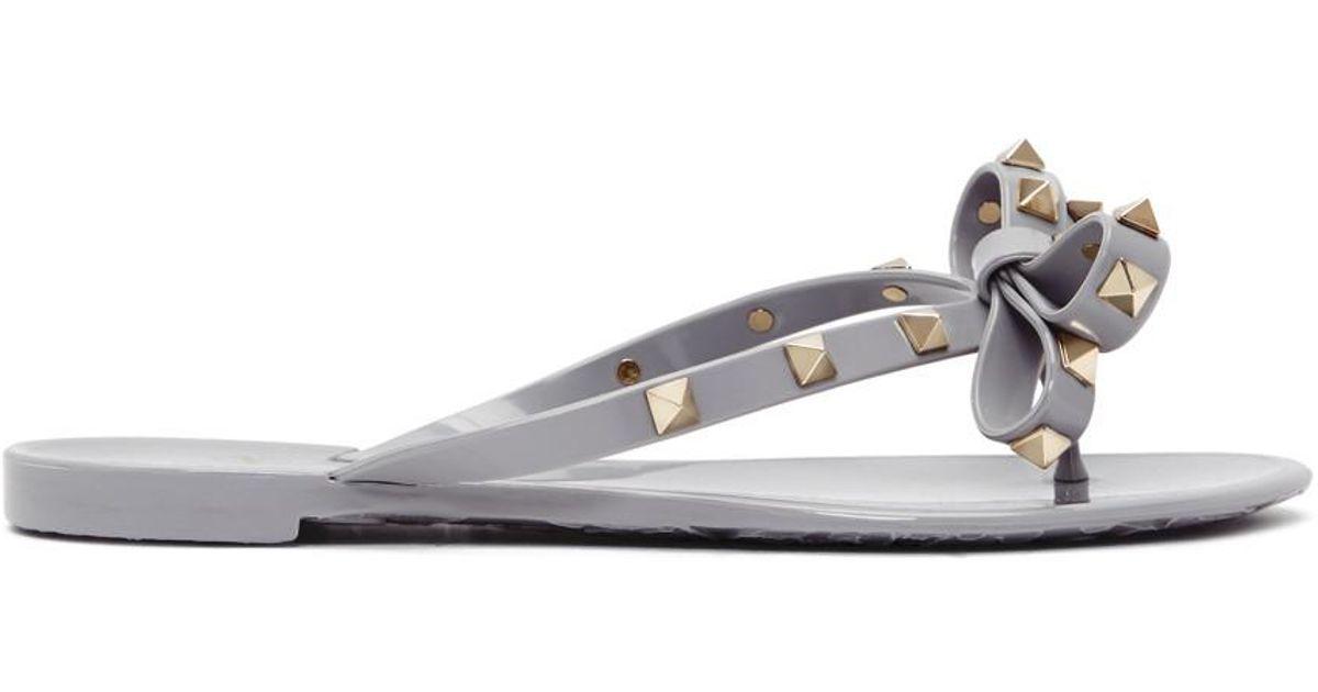 Jelly Lyst Garavani Bow Rockstud Gray Grey Sandals Valentino SMpGqzVU