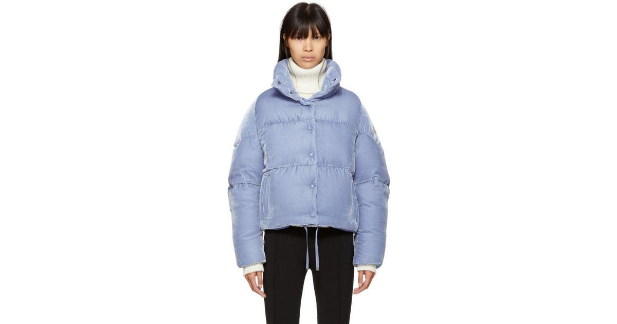 moncler blue velvet down cercis jacket