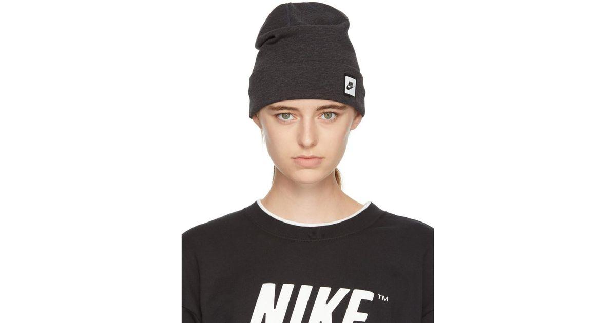 Lyst - Nike Grey Nsw Tech Beanie in Black 3514f547740