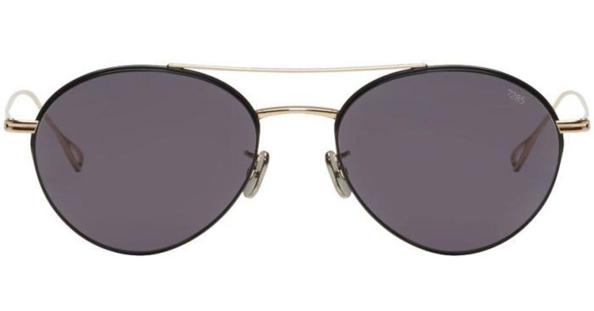 1975fa643e Eyevan 7285 Gold   Black Model 752 Sunglasses in Metallic for Men - Lyst