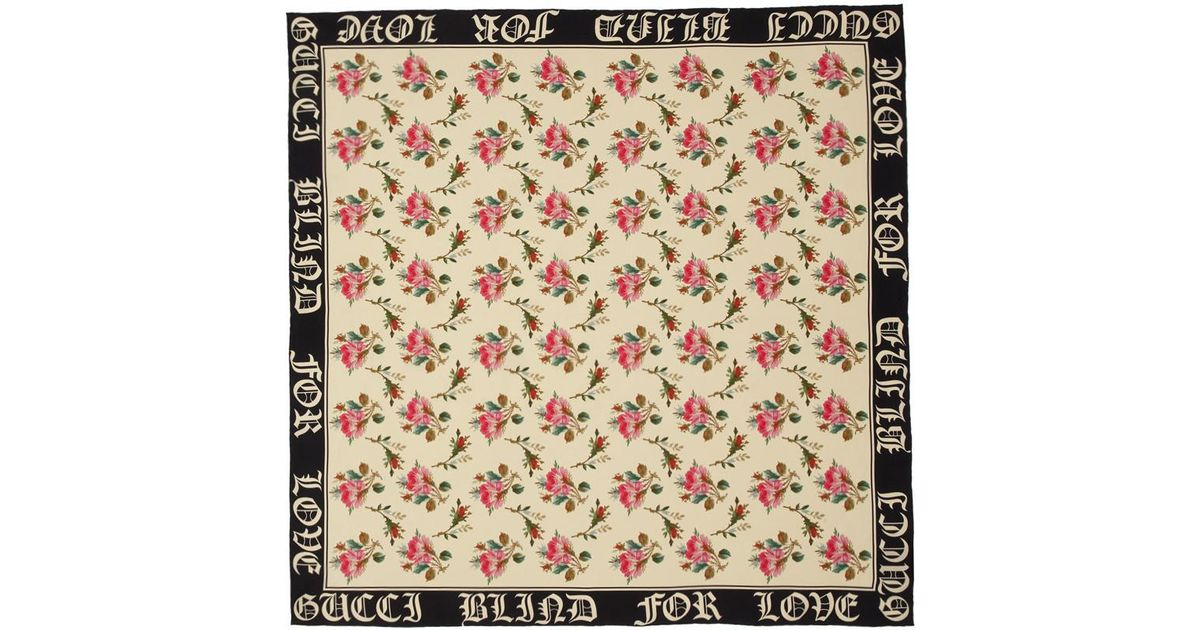 Ivory SIlk Blind For Love Scarf Gucci 4RhameI