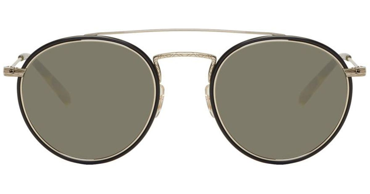 8c4a289864c5 Lyst - Oliver Peoples Gold And Black Ellice Sunglasses in Metallic for Men