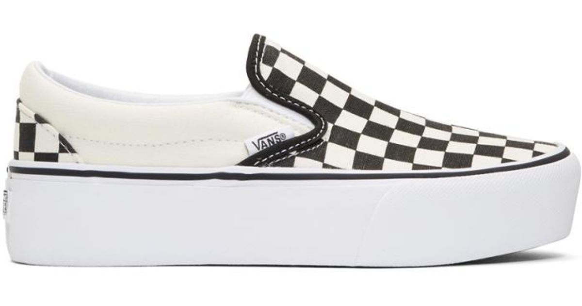 Lyst - Vans Black   Off-white Checkerboard Classic Platform Slip-on Sneakers  in Black e3b7907a6