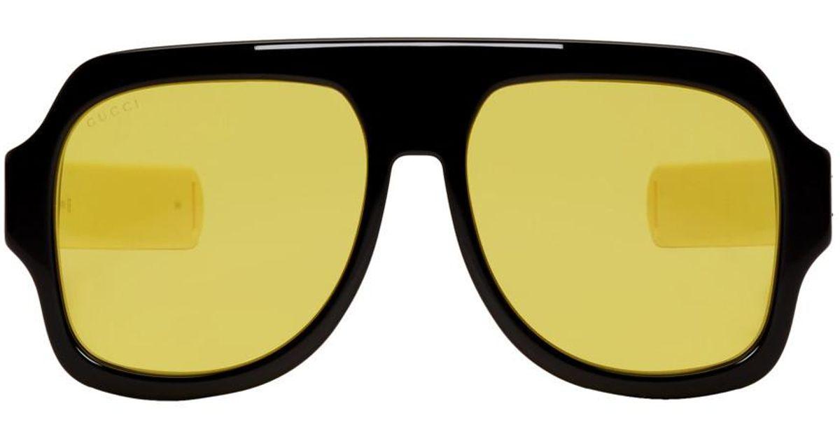 2c0ea7661eb Lyst - Gucci Black And Yellow Sport Sunglasses for Men