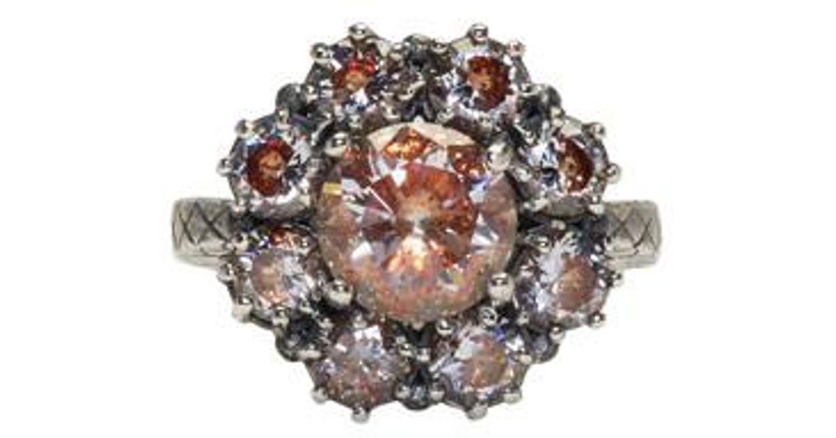 Bottega Veneta Silver Flowers Zircon Ring z9JOG