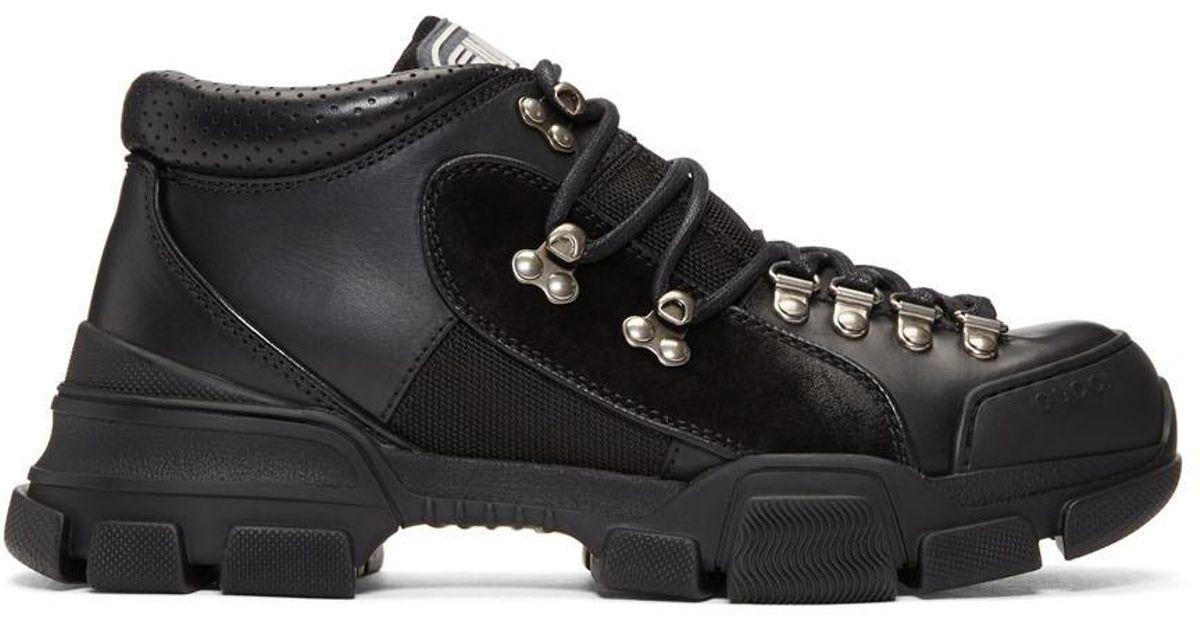 Lyst - Gucci Black Flashtrek High-top Sneakers in Black for Men 25a46bb98b