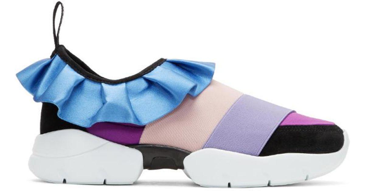 Emilio Pucci Purple & Black Colorblock Ruffle Slip-On Sneakers Site Officiel Prix Pas Cher uVIpZF