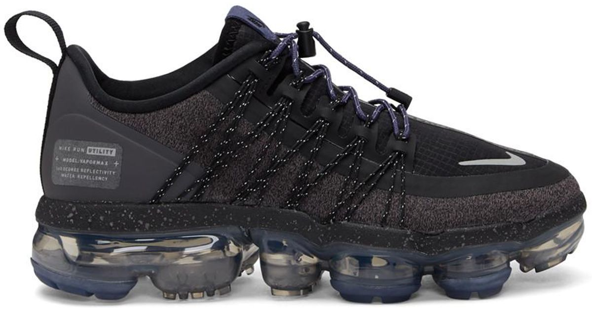 74ade144a1 Nike Black And Purple Air Vapormax Run Utility Sneakers in Black - Lyst