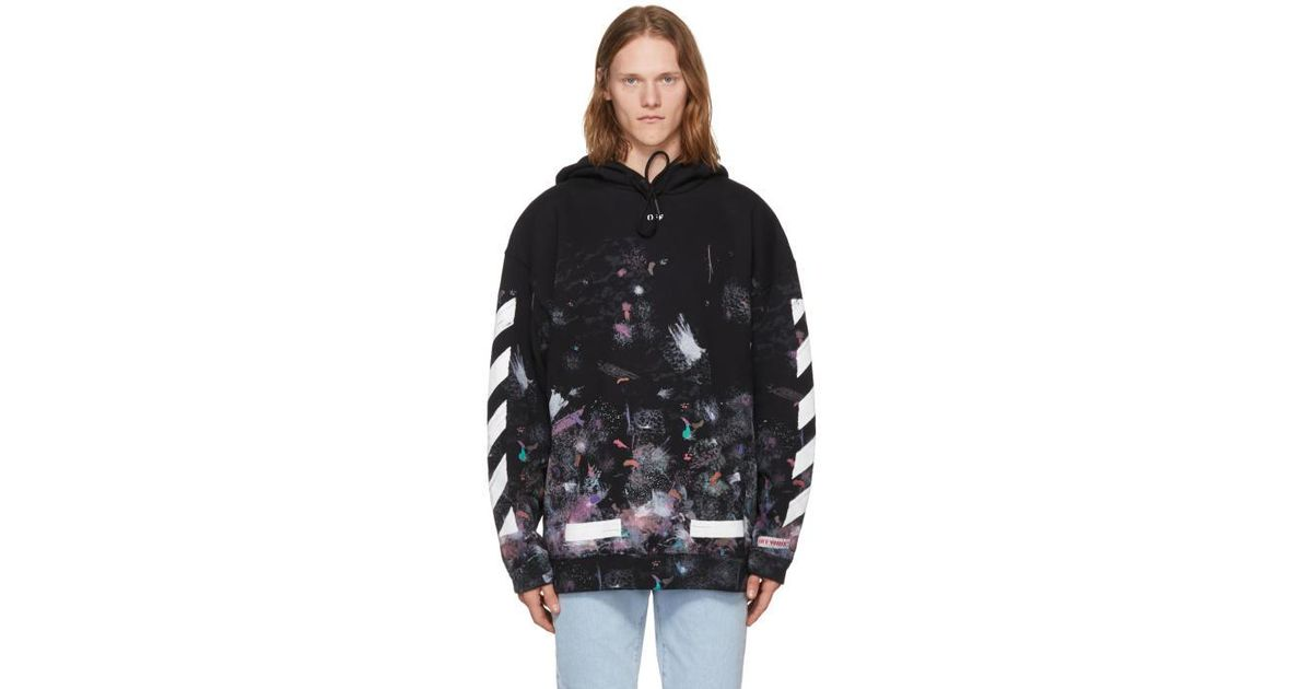 6e67489c7dbf5f Off-White c o Virgil Abloh Diagonal Galaxy Brushed Sweatshirt in Black for  Men - Lyst