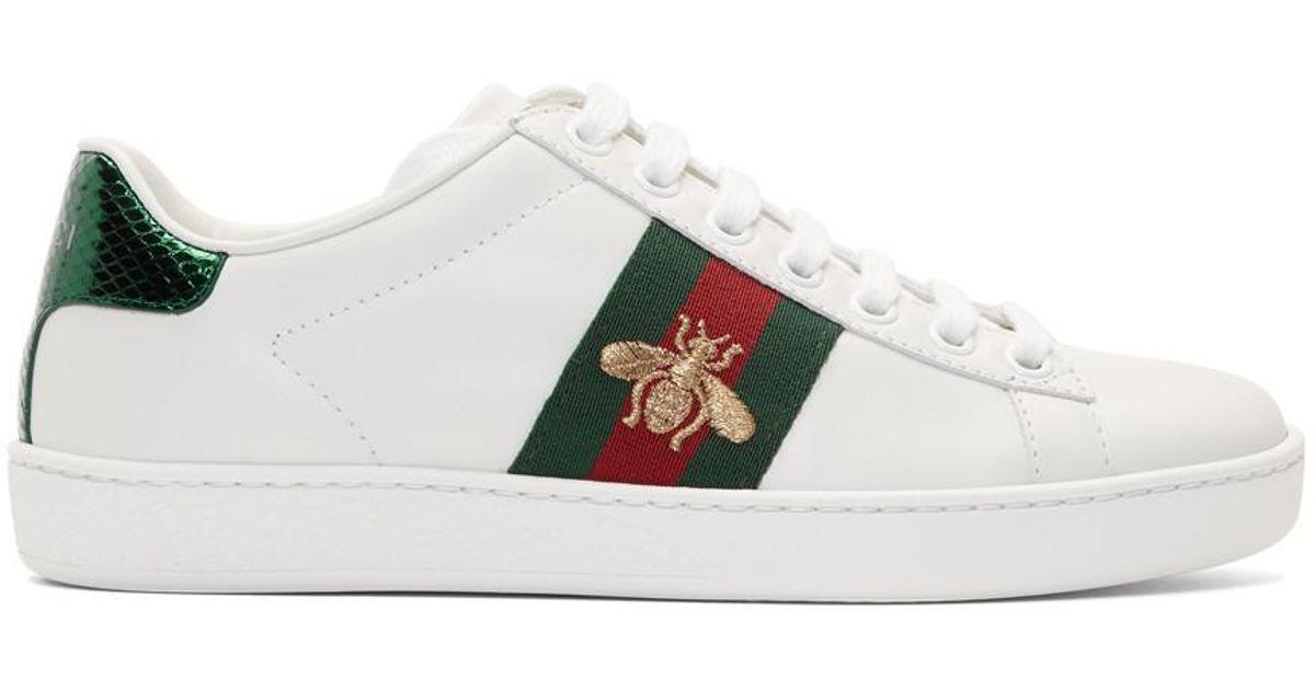 ccb4e2e42ff Gucci White Bee Ace Sneakers in White - Lyst
