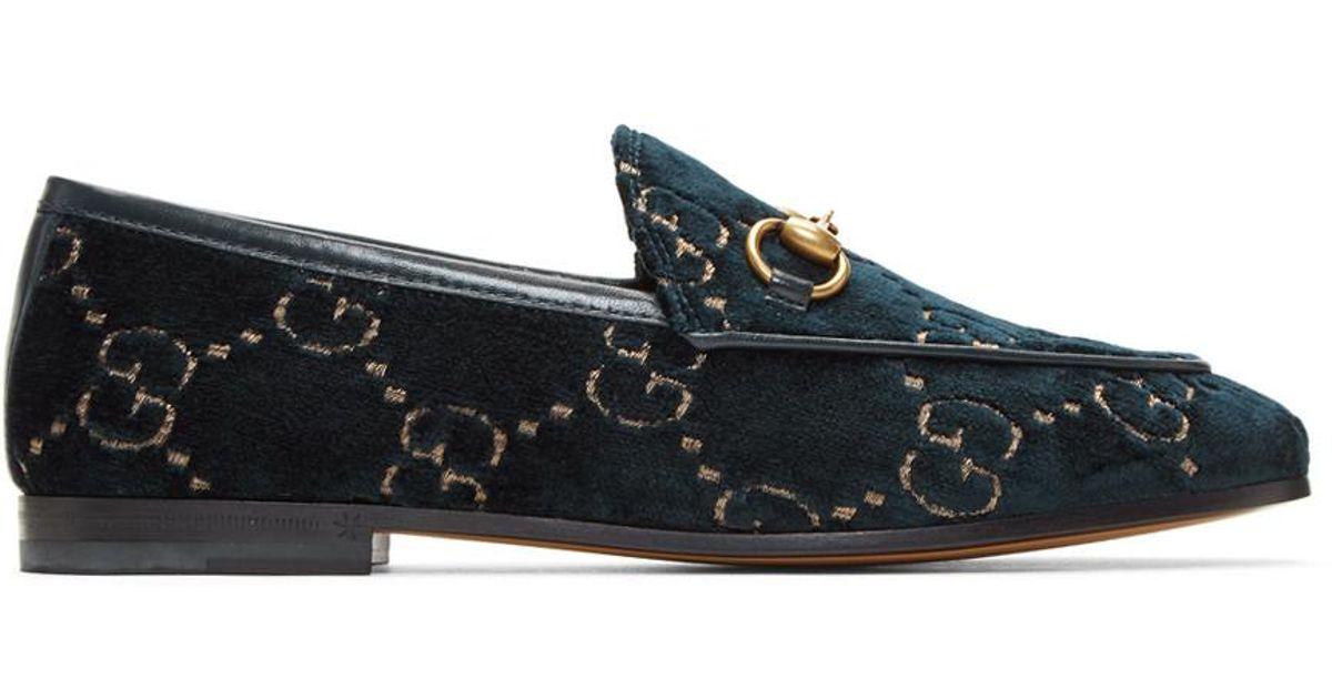 a21b33fe016 Lyst - Gucci Blue Velvet GG New Jordaan Loafers in Blue