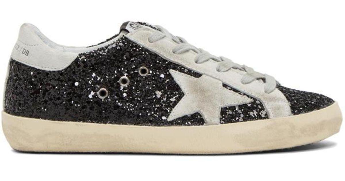 791a461a452c7 Lyst - Golden Goose Deluxe Brand Ssense Exclusive Black Glitter Superstar  Sneakers
