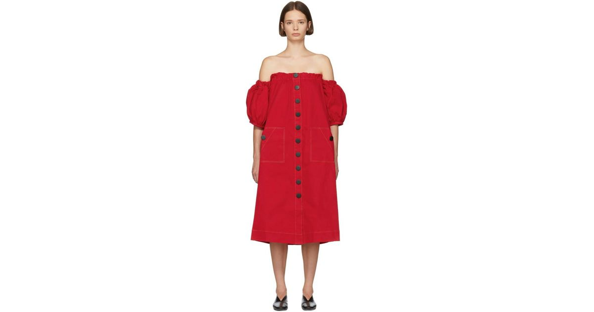 c5106a235 Edit Red Balloon Sleeve Off-the-shoulder Dress in Red - Lyst