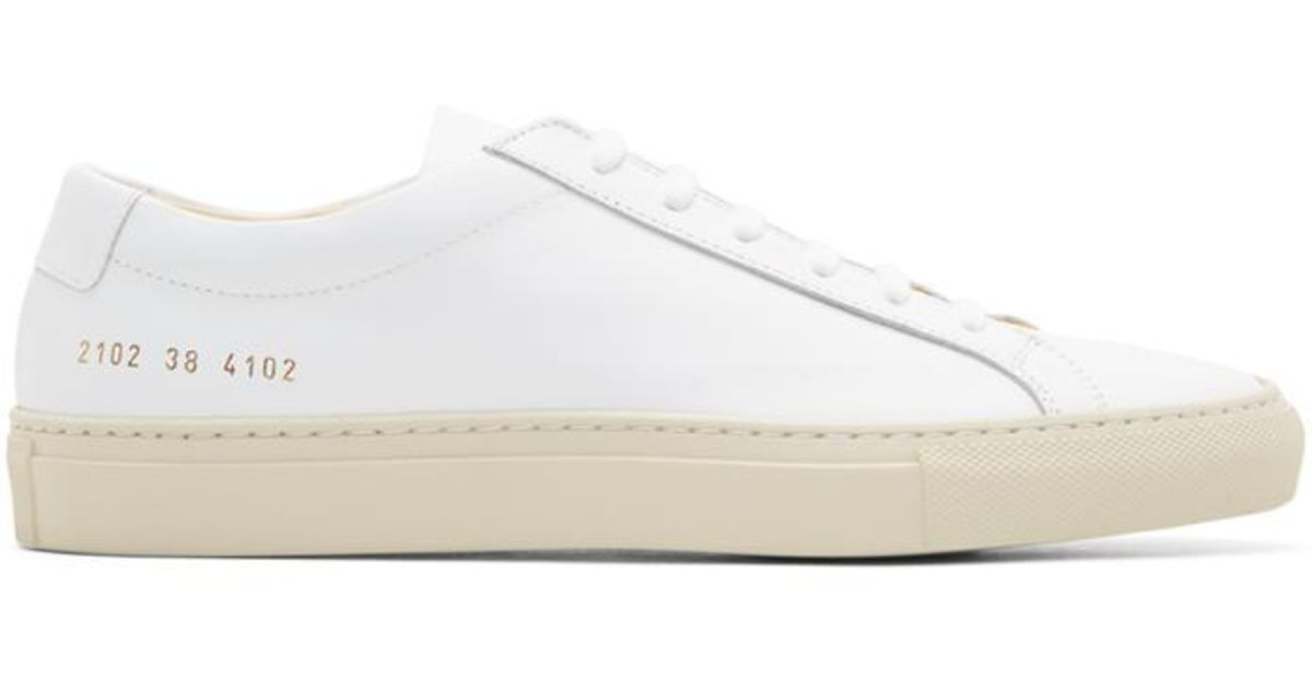 c0f68c05c462 Lyst - Common Projects White   Beige Achilles Low Colored Sole Sneakers in  White for Men