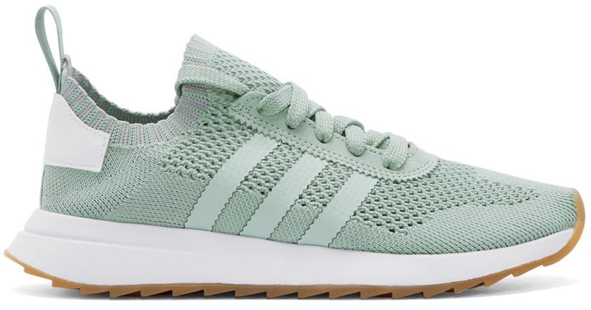 Adidas originali green & white flashback primeknit scarpe in verde