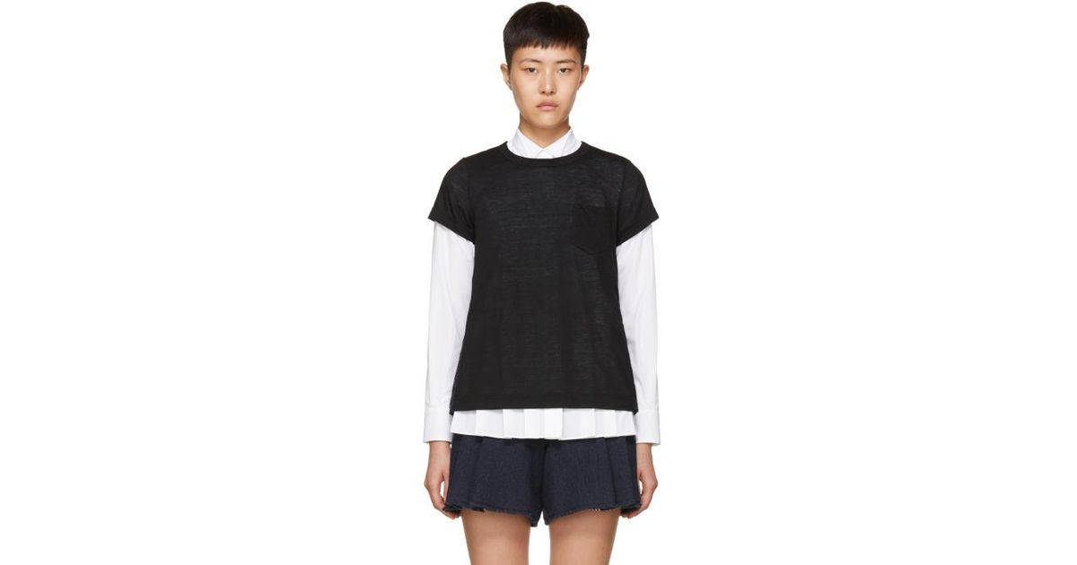 Fake Cheap Price Black and Navy Hybrid Lace T-Shirt sacai Cheapest Sale Online V4PXzzzzRp