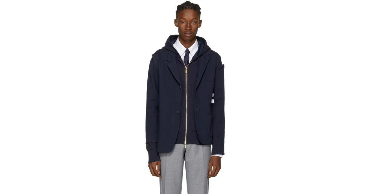 detailed look 4b857 af4d0 Lyst - Thom Browne Navy Reconstructed Zip-up Four Bar Hoodie Sport Blazer  in Blue for Men