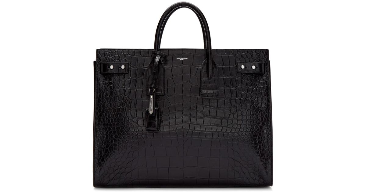 4f9e9957aef Lyst - Saint Laurent Black Croc Sac De Jour Tote in Black for Men