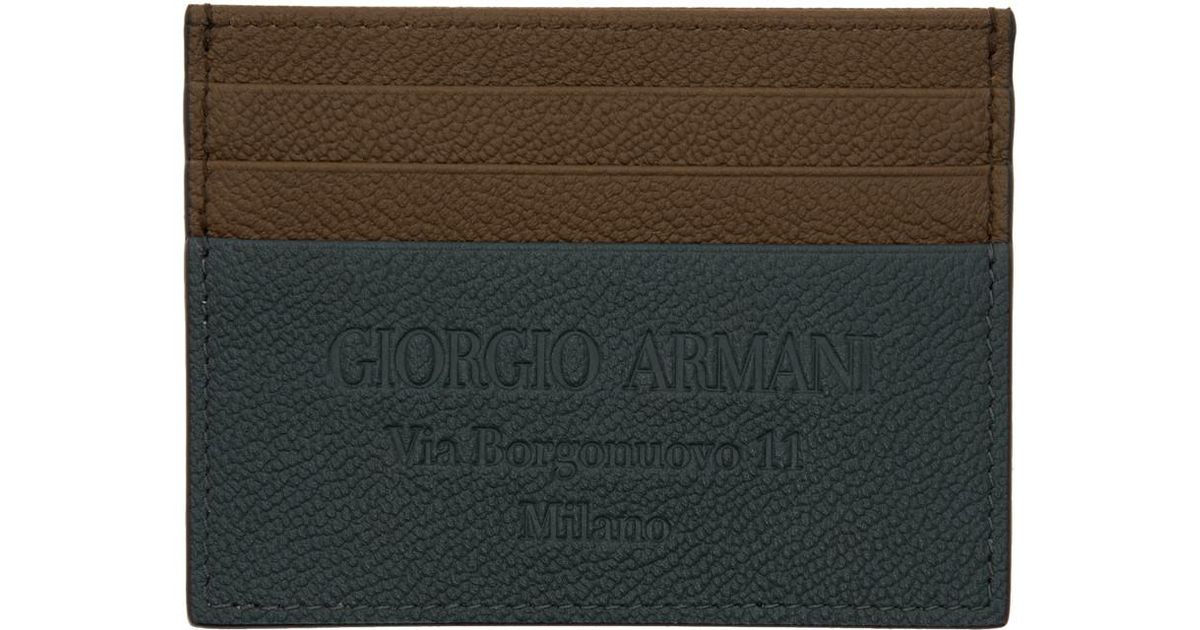 ccf6257b17 Giorgio Armani - Brown And Blue Logo Stamp Card Holder for Men - Lyst