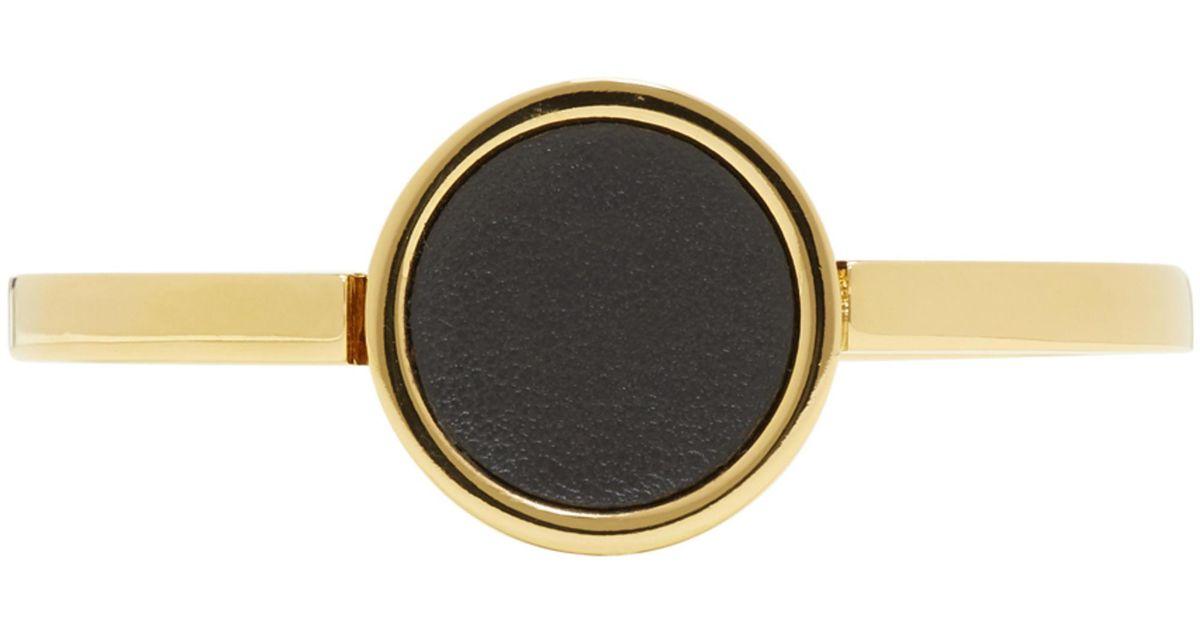 Gold and Black Leather Circle Bracelet Jil Sander Xj21e
