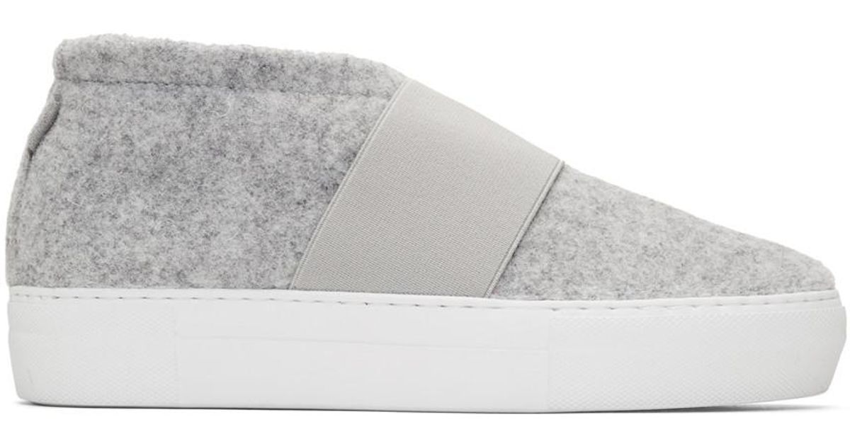 Diemme Grey Felt Cassola Mid Sneakers