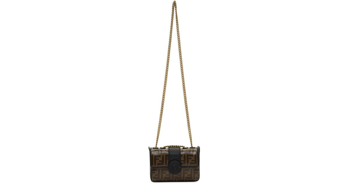 3e74128f0efa Lyst - Fendi Black Mini Forever Chain Bag in Black